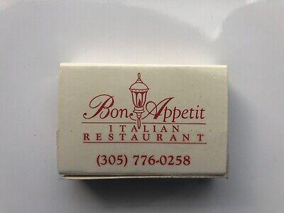 Vintage Matchbook Bon Appetit Italian Restaurant Mb0 Ebay