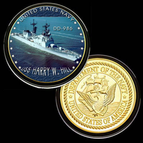 Hill DD-986Gold Plated Challenge Coin U.S United States NavyUSS Harry W
