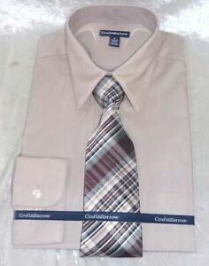 New Croft /& Barrow Men Black Point-Collar Dress Shirt Tie Set Size 2XB MSRP $58