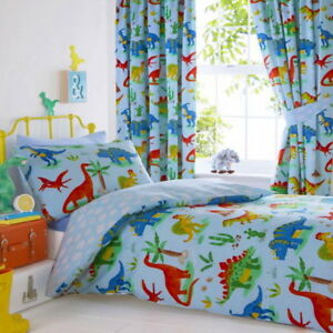 Dinosaurs Dino Boys Kids Blue Reversible Duvet Cover Quilt Bedding