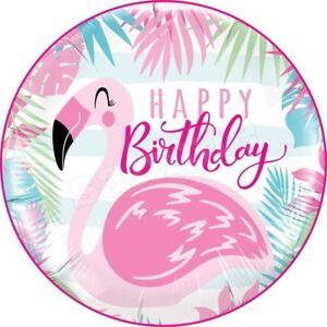 Geburtstag-Flamingo-Birthday-Essbar-Tortenaufleger-NEU-Party-Deko-dvd-Kuchen