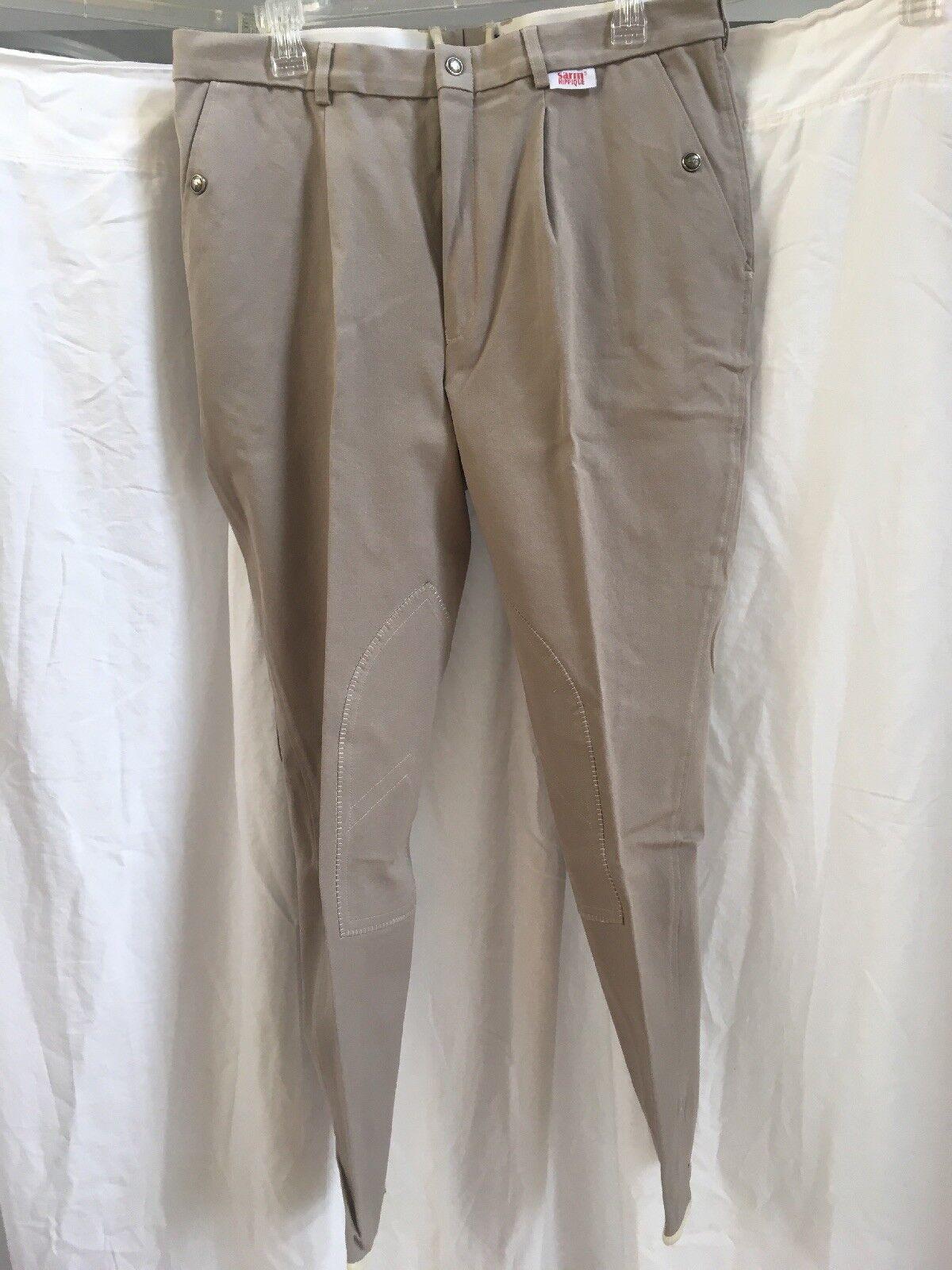 Men's Sarm Hippque Breeches Size 36 color Tan NWT