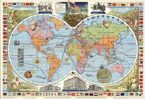 1957 pictorial map of the World flags McCormick/'s spices tea POSTER 8849003
