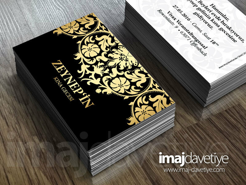 Hennakarte schwarz mit mit mit Ornament Mini -siyah altin süslü Kina karti davetiyesi 06 988ddc