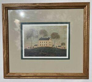 Warren Kimble Print Matted & FramedFARM HOUSE ON A HILL
