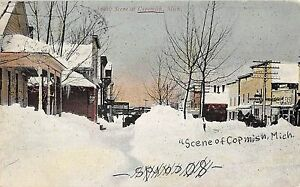 Copemish Michigan Snow Scene general street view antique postcard V5099