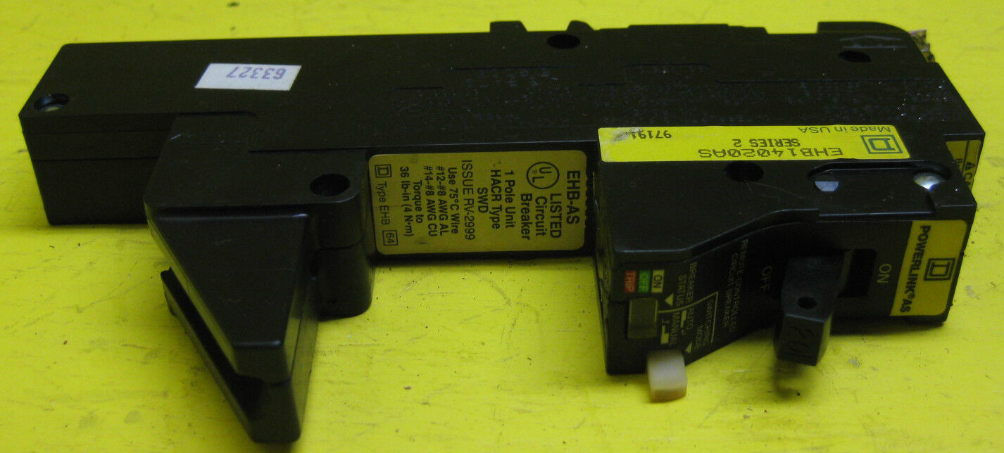 Square D Ehb14020as Remote Control Circuit Breaker 20a 1 Pole 277v Controlled 20 Amp Ebay