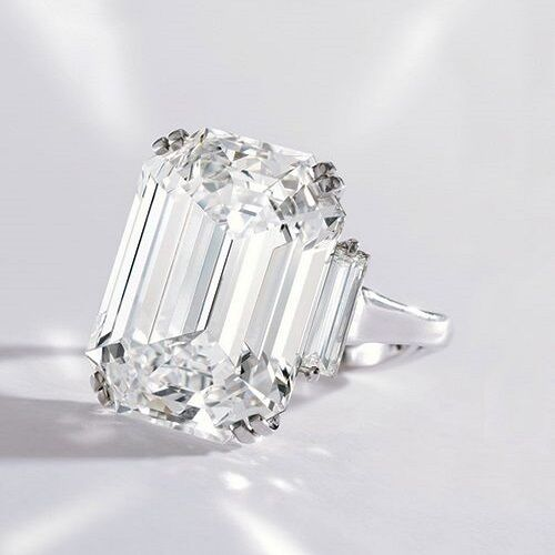 4.60 ct. 3 - Stone Emerald Cut Diamond Engagement Ring w/ Baguettes G, VS2 GIA