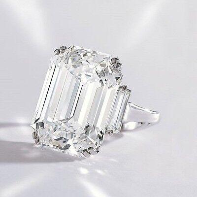Elegant 2.32 Ct Emerald Cut W/ Baguette cut Three Stone Diamond Engagement Ring