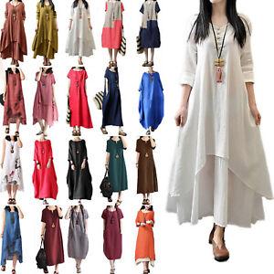 Womens-Summer-Maxi-Holiday-Kaftan-Dress-Loose-Baggy-Beach-Causal-Dress-Sundress