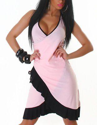 Maxikleid Neckholder-Kleid Kleid Dress NEU Tanz Einheitsgröße 34 36 38 40 pink