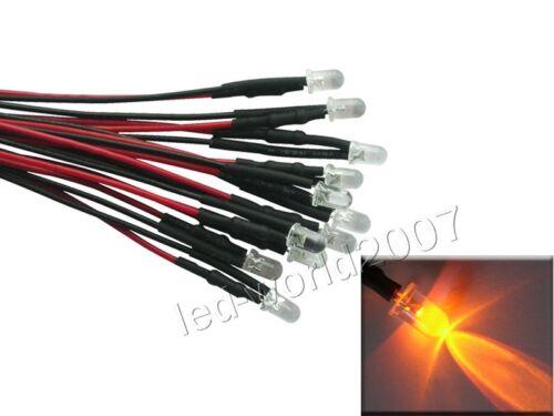 20x 3 mm 5 mm 8 mm 10 mm Jaune Ampoule DEL diode électroluminescente pré-câblés courant continu 9V//12V//24V