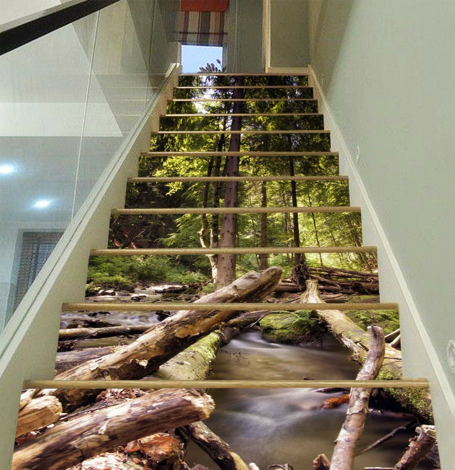 3D Trunk Forest Stair Risers Decoration Photo Mural Vinyl Decal Wallpaper CA