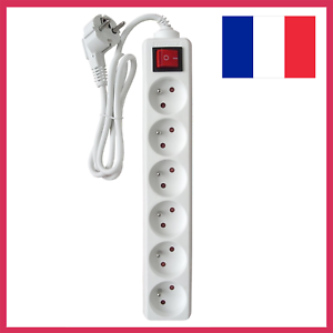 Rallonge-Multiprise-Electrique-6-Prises-avec-Interrupteur-Bloc-Blanc-16A-Cble-1m