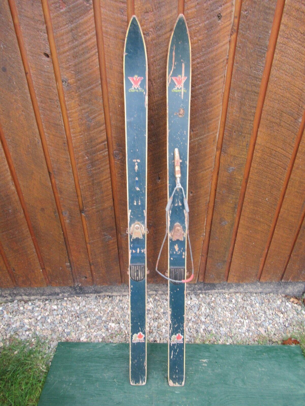 VINTAGE Wooden 53  Skis Signed CHALET  JR + Original Finish  credit guarantee