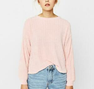 Womens-Chenille-Pale-Pink-Soft-Cosy-Knitted-Jumper-Sweater-Top-XS-L