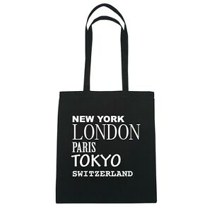 New York, London, Paris, Tokyo SWITZERLAND - Jutebeutel Tasche - Farbe: schwarz