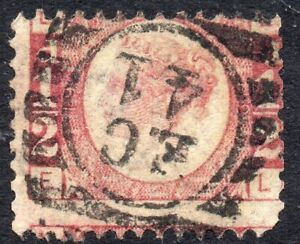 1878-Sg-48-d-Rose-red-039-EL-039-Plate-19-with-London-Duplex-Cancellation-Used