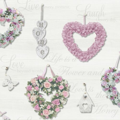 GRACIE FLORAL HEARTS WALLPAPER HOLDEN WOOD PANEL GREY PINK