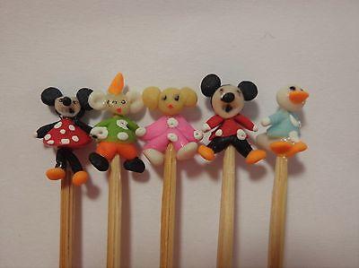 1:12 Scale 5 Hand Made Mickey /& Friends On A Stick Tumdee Dolls House Nursery