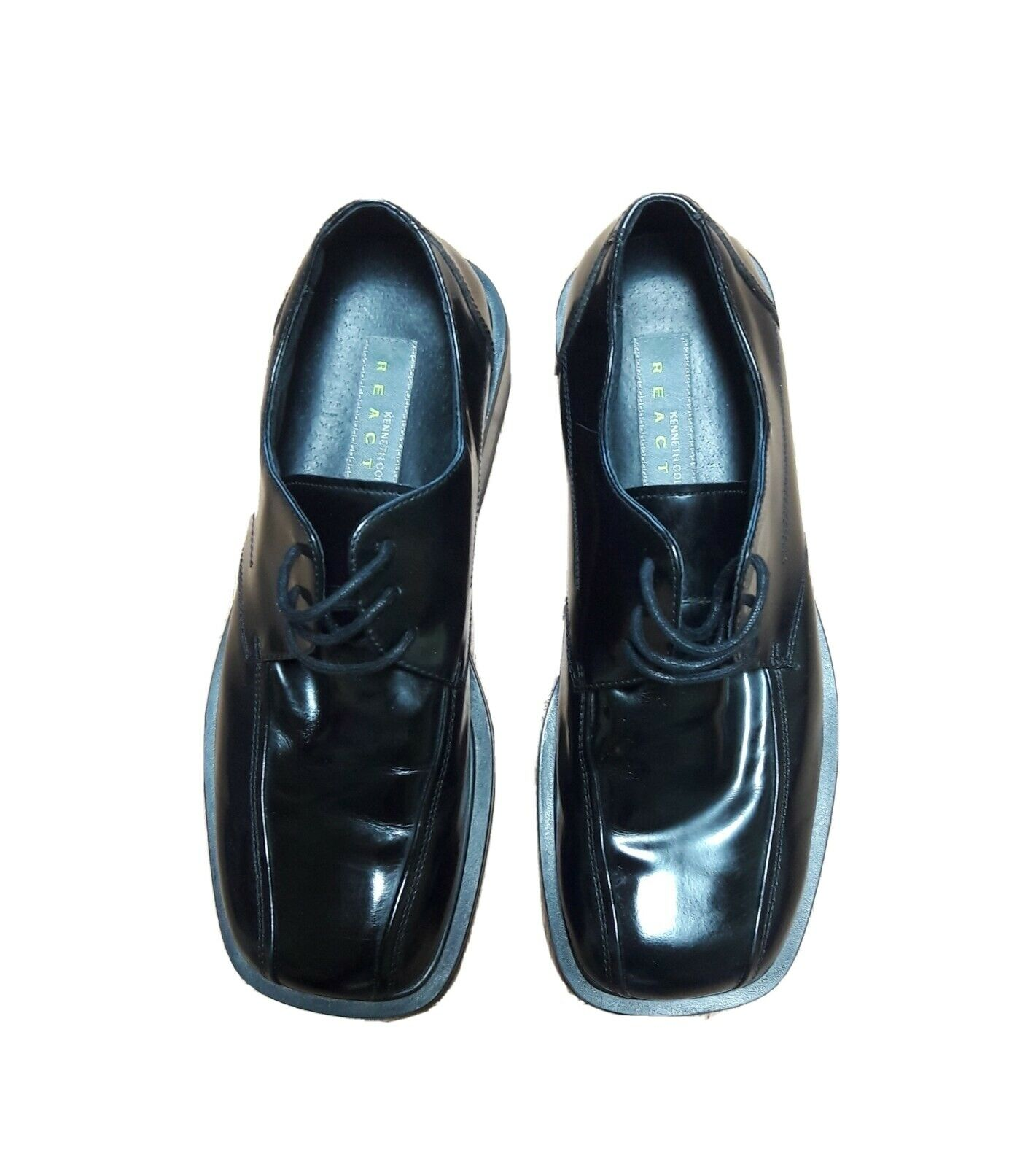 Kenneth Cole Reaction Mens 8.5 M Black Leather Square Toe Lace Up Dress Shoes