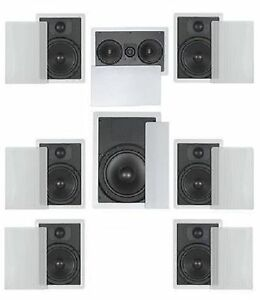 "In Wall Speakers Home Theater flush mount in wall speakers 7.1 home theater surround- 6.5"" 2way"
