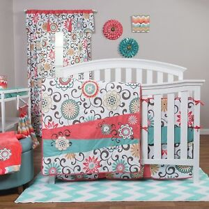 Trend Lab Waverly Pom Pom Play 4 Piece Crib Bedding Set Girls Floral