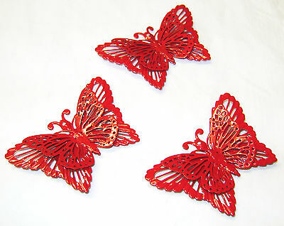 NEW SET OF 3 METAL BUTTERFLY MAGNETS FRIDGE OR CLIP TO CURTAINS ETC SIL RED
