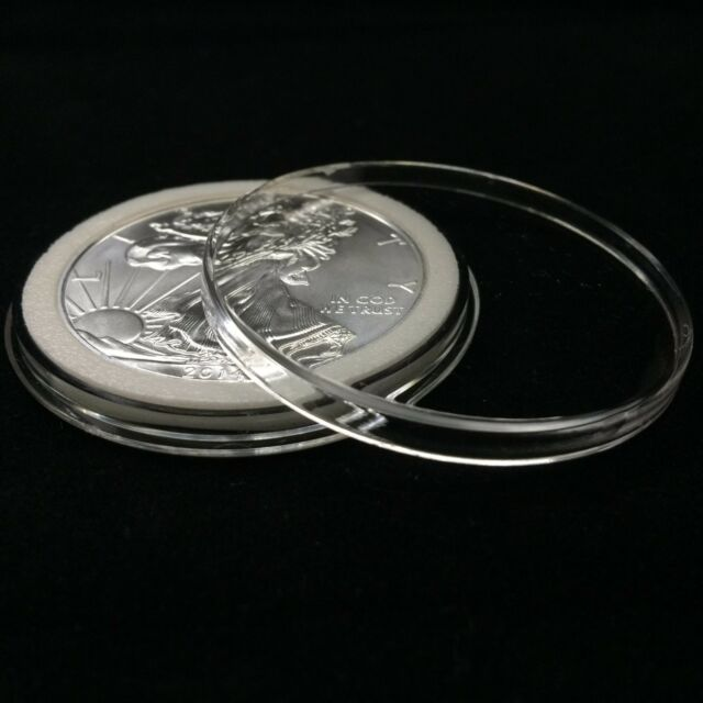 10 AIRTITE COIN HOLDER CAPSULE BLACK RING 40 MM AMERICAN SILVER EAGLE