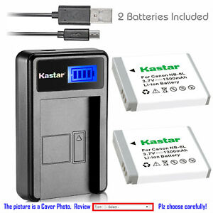 Kastar-Battery-LCD-USB-Charger-for-Canon-NB-6L-NB-6LH-amp-Canon-PowerShot-SX610-HS