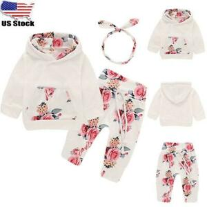 US New Toddler Baby Kids Girls Floral Ruffle Tops Shorts Pants Dress Set Clothes