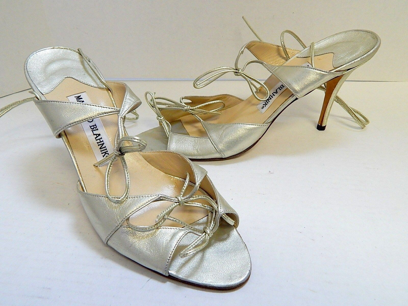 Manolo Blahnik 39.5 Strappy US sz 9M Gold Strappy 39.5 Ankle Wrap Heels  4fb2f0