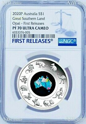 2020 Australia Great Southern Land Opal 1oz Silver Proof Coin NGC PF70 FR HOT