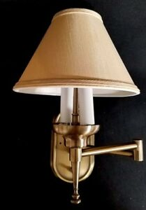 Decorative Wall Lamp Shades : Swing Arm RV Wall Lamp Brass with Beige Decorative Shade Optronics NEW 12VDC eBay