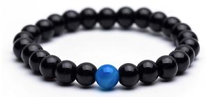 Unisex HighQ Bracelet Natural Black & Blue Onyx Agate Stone Yoga Beads Reiki UK