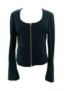 Express Women's Black Long Sleeve Scoop Neck Full Zip Blazer Jacket Size 8