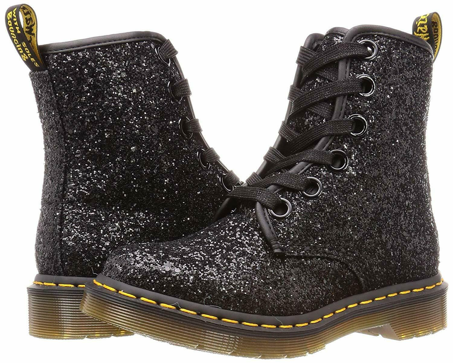 Women's Shoes Dr. Martens 1460 FARRAH 8 Eye Boots 25137001 BLACK CHUNKY GLITTER