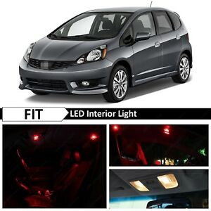 8x Red Led Lights Interior Package Kit Fits 2009 2013 Honda Fit Jazz