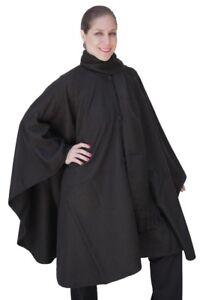 Alpaca-Wool-Cape-Cloak-with-matching-Scarf-Black