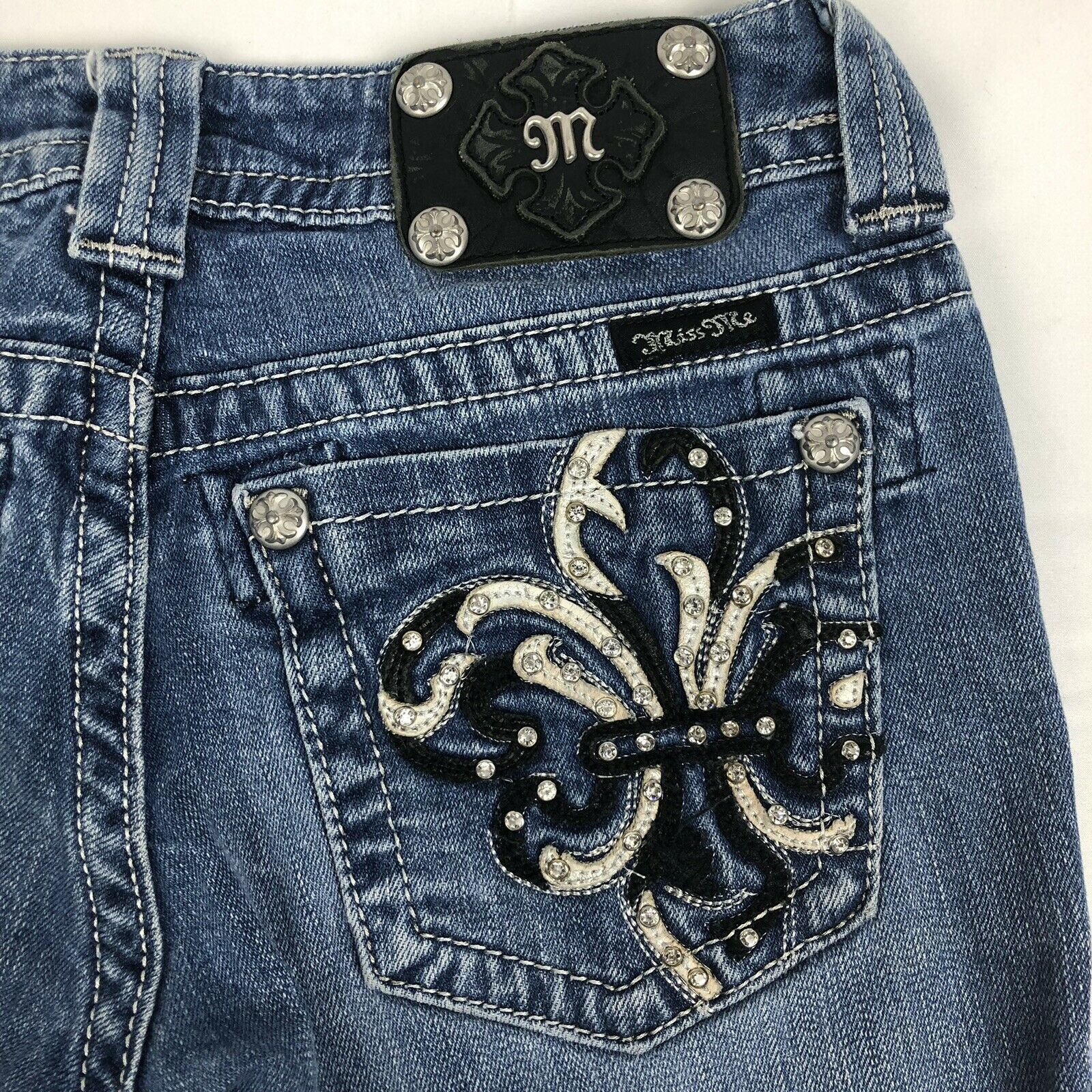 Miss Me Low Rise Bootcut Womens 27 Stretch bluee Denim Embellished Jeans JP6073B