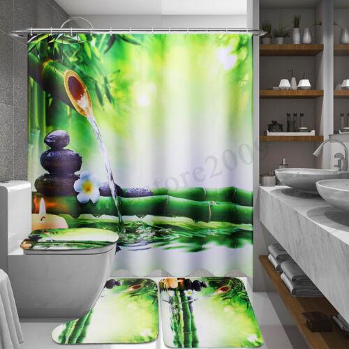 Bamboo Waterproof Bathroom Shower Curtain Toilet Cover Mat Non-Slip Rug Set