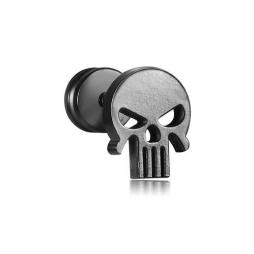 Acero inoxidable Fake Plug pendientes calavera Death Skull cráneo negro Biker