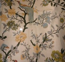 1 YARD PRETTY FABRIC with EXOTIC BIRDS PEACOCKS FLOWERS ~ DRAPERY / UPHOLSTERY