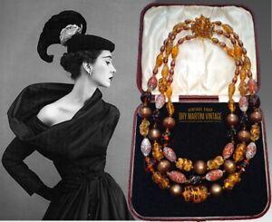 VINTAGE-1950s-DECO-VENETIAN-GOLD-FOIL-BEADS-TRIPLE-STRAND-NECKLACE-AUTUMN-COLOUR