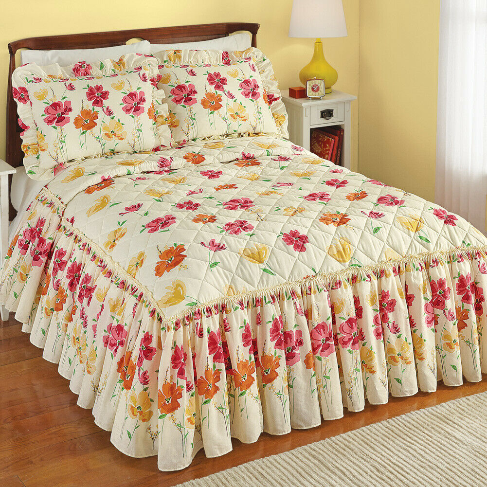 King Floral Yellow, orange and Pink Floral Bedspread