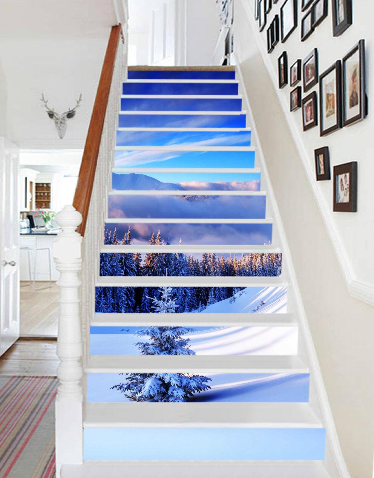 3D Schnee Berg 243 Stair Risers Dekoration Fototapete Vinyl Aufkleber Tapete DE