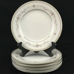 Set-of-5-VTG-Bread-Plates-6-1-4-034-Noritake-Fairmont-6102-Pink-Roses-Floral-Japan
