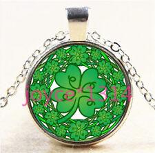 Four-leaf clover Cabochon Tibetan silver Glass Chain Pendant Necklace #6047