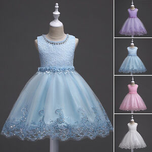 a6520390898 Image is loading Flower-Girls-Princess-Dress-Kids-Baby-Party-Wedding-
