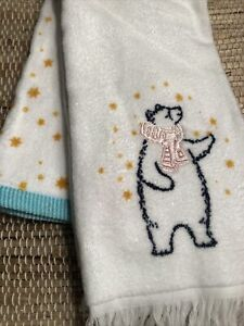 Winter Stars Super Soft 2 Pack Hand Towels New 100 Cotton Bear W Pink Scarf Ebay